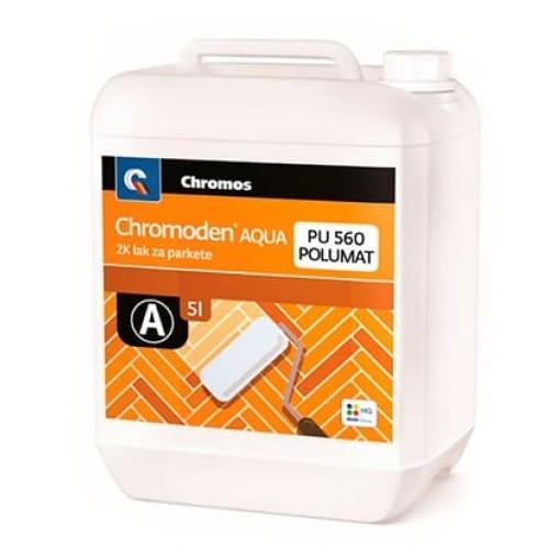 Двухкомпонентный, водный, полиуретановый, бесцветный лак - полуматовый CHROMODEN AQUA 2K LZP PU 560 POLUMAT комп. А - изображение 1